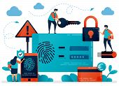 Fingerprint Recognition Technology For User Id Security. Finger Touch Scanner App To Secure Personal poster