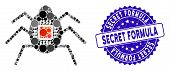 Mosaic Spy Bug Icon And Distressed Stamp Watermark With Secret Formula Phrase. Mosaic Vector Is Form poster