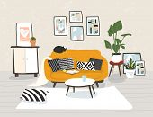 Modern Home Interior In Trendy Scandinavian Hugge Design. Beautiful Nordic Style Apartment. Living R poster