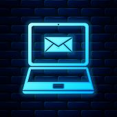 Glowing Neon Laptop With Envelope And Open Email On Screen Icon Isolated On Brick Wall Background. E poster