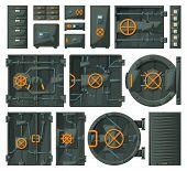 Door Of Storage Vector Cartoon Set Icon.vector Illustration Set Security Locker. Isolated Cartoon Ic poster