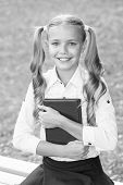 Schoolgirl In Classy Retro Uniform Read Book. Old School. Back To School. Classy Uniform Makes Smart poster