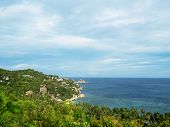 Idyllic Beach View Over Bay With Blue Sky, Sea And Cliffs Green Nature. Island View From Nang Yuan I poster