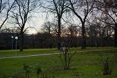 Green Spring Park With Paths And Bike Paths. Infrastructure. Place For Rest And Entertainment. Natur poster