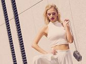 Glamurous Female Fashion Model Presenting Casual Elegant Outfit. Woman Wearing Crop Top. Summer Urba poster