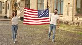 National Holiday. Hipster And Girl Celebrate 4th Of July. American Patriotic People. American Couple poster