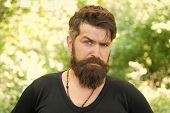 Facial Care. Wilderness Survival Guide. Man Bearded Hipster Bright Foliage Background. Guy Relax In  poster