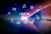 Finger touching tablet with drawn social media icons and LIKE US inscription, social networking conc poster