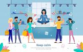 Professional Equanimity And Calmness In Stressful Work Trendy Flat Vector Banner, Poster Template. S poster