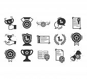 Set Of Awards Vector Icons.  Glory Shield, Prize Winner, Rank Star, Outline Icon Design.modern Linea poster