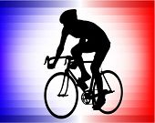 bicyclist silhouette on the tricolor background