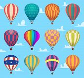 Air Balloons. Festival Romantic Flight Outdoor Hot Air Balloons Aircraft Transport Vector Cartoon Se poster