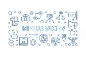 Influencer Vector Concept Creative Thin Line Horizontal Illustration Or Banner poster