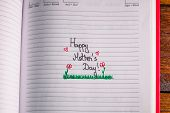 Mother`s Day Concept. Writing Text For Mother On Personal Agenda. Happy Mother`s Day With Drawing. poster