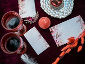 Wedding Decorated Table With Glasses Of Wine For A Romantic Date. Wedding Details: Tablecloth, Candl poster