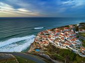 Aerial view of beautiful coastal town Azenhas do Mar in Portugal. The picturesque town on the Atlant poster