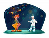 Circus And Funfair Carnival, Circus Vector Cartoon Characters. Clown In Red Wig And Big Trousers, Mi poster
