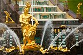 stock photo of samson  - Famous Samson and the Lion fountain in Peterhof Grand Cascade - JPG