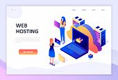 Modern Flat Design Isometric Concept Of Web Hosting Decorated People Character For Website And Mobil poster