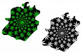 Bamako Region (regions Of Mali, Republic Of Mali) Map Is Designed Cannabis Leaf Green And Black, Bam poster