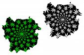 Kayes Region (regions Of Mali, Republic Of Mali) Map Is Designed Cannabis Leaf Green And Black, Kaye poster