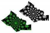 Kidal Region (regions Of Mali, Republic Of Mali) Map Is Designed Cannabis Leaf Green And Black, Kida poster