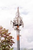 Antenna Tower. A Large Number Of Antennas And Round White Plates. Telecommuncation Man poster