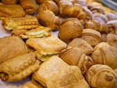 Baked Goods In A Retail Store. Variety Of Baked Goods, Bakery, Photo Icon For Basic Food, Freshness  poster