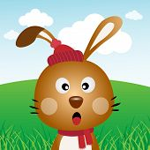 stock photo of rabbit hole  - A brown rabbit with long ears in the forest - JPG