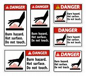 Danger Burn Hazard,hot Surface,do Not Touch Symbol Sign Isolate On White Background,vector Illustrat poster