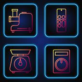 Set Line Remote Control, Scales , Kitchen Meat Grinder And Remote Control . Gradient Color Icons. Ve poster