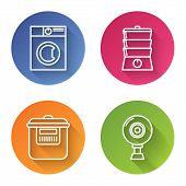 Set Line Washer , Double Boiler , Slow Cooker And Web Camera . Color Circle Button. Vector poster