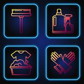 Set Line Rubber Gloves , Plastic Basin With Soap Suds , Squeegee, Scraper, Wiper And Plastic Bottles poster