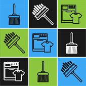Set Line Handle Broom , Washer And T-shirt And Squeegee, Scraper, Wiper Icon. Vector poster
