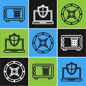 Set Line Safe , Safe And Laptop Protected With Shield Icon. Vector poster