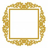Golden Vintage Ornament Pattern Frame, Border Ornament Pattern Frame, Engraving Ornament Pattern Fra poster