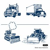 stock photo of oversize load  - Trucks and bulldozers - JPG