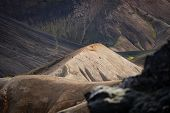 Landmannalaugar Colorful Hill On Black Ash Background In The Laugavegur Hiking Trail. Iceland. The C poster