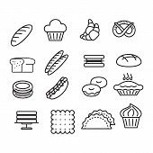 Bakery Sign Black Thin Line Icon Set Include Of Cake, Donut, Bread, Dessert And Cupcake. Vector Illu poster