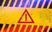 Hazard Warning Attention Sign. Dangerous Area And Hazard. poster