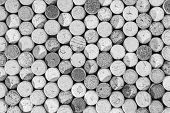 Black And White Random Selection Of Used Wine Corks, Wall Of Used Corks, Wine Corks Background, Top  poster
