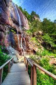 stock photo of chimney rock  - Hickory Nut Falls in Chimney Rock State Park - JPG