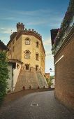 Barolo Old Town Typical Street And Exterior Of The Castle, Langhe Piedmont, Italy Europe. Piedmont,  poster