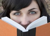stock photo of girl reading book  - book woman - JPG