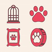 Set Paw Print, Cage For Birds, Paw Print And Bag Of Food For Dog Icon. Vector poster