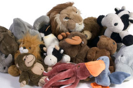 stock photo of stuffed animals  - bevy of plush animals - JPG