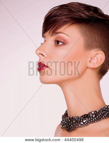 Neatness. Profile Of Trendy Short Hair Woman. Bob Haircut