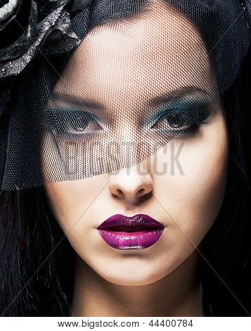 Romance. Portrait Of Spectacular Styled Woman In Retro Black Veil
