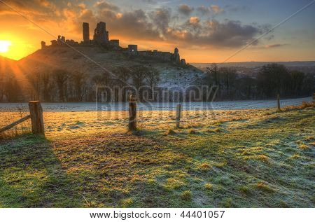 Vibrant Winter Landscape Sunrise Over Castle Ruins