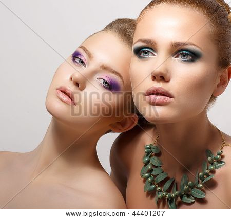 Relationship. Portrait Of Two Dreaming Seductive Women. Glamor